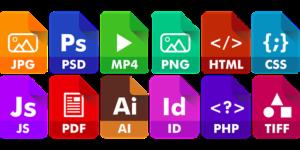 Icones representant formats de fichiers
